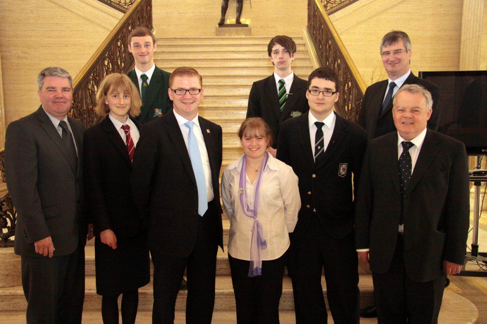 Students with MLAs from the Environment Committee after their evidence session